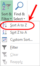 click on sort and filter