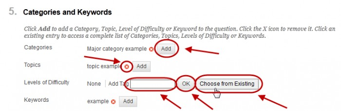 Categories and keywords with the add button, red X Add tag text box, ok and choose from existing all circled