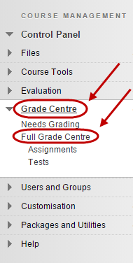 click on full grade centre