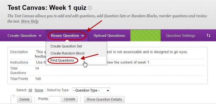 Test canvas with reuse question button circled and find questions circled in the drop down menu