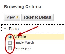 Browsing criteria screen with pools link selected and the all pools radio button checked and circled