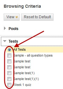 Browsing criteria screen with tests link selected and the all tests radio button checked and circled
