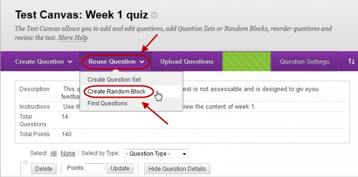 Test canvas with reuse questions button circled and create random block circled in the drop down menu