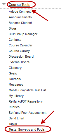 Course tools link circled and Test, Surveys and Pools circled from drop down list.