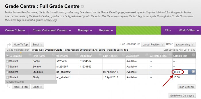 Full grade centre with a student result circled