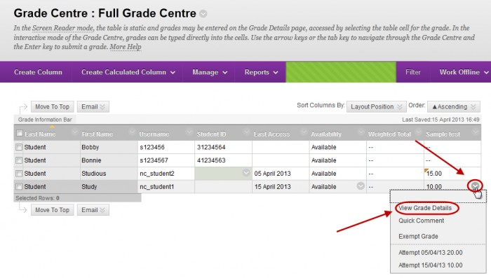 Grade centre with the down arrow circled next to a student result and view grade details circled in drop down menu