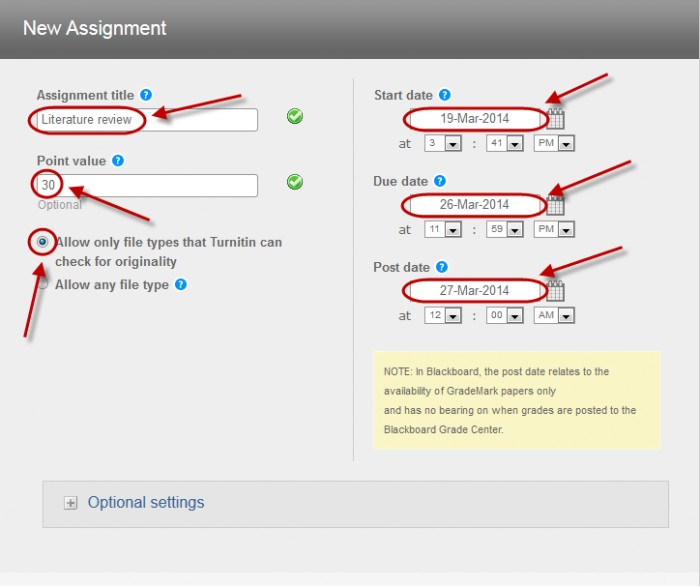 populate assignment settings