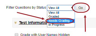 Filter questions by status drop down box with needs grading circled in the drop down box