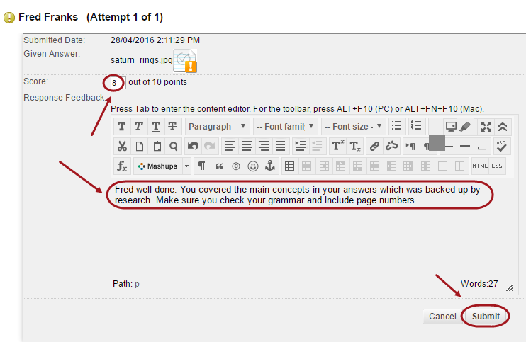 Student attempt with score text box circled as well as the response feedback and submit button.