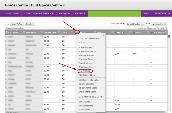 Grade centre with down arrow next to test column circled and item analysis circled in the drop down menu