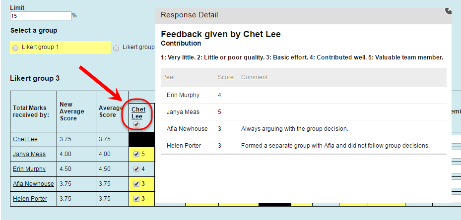 Feedback given by Chet