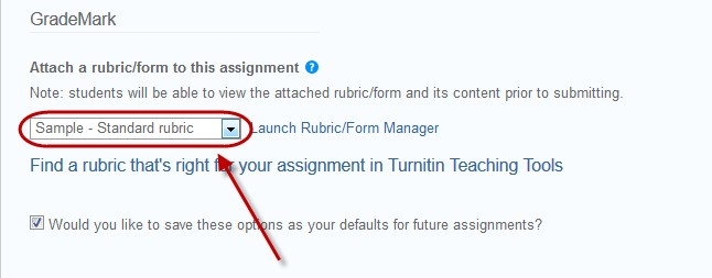 select rubric from drop down