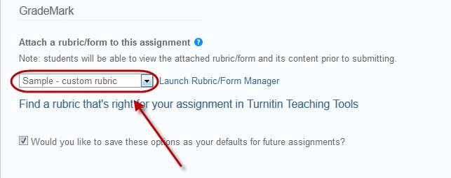 select the required rubric from the drop down