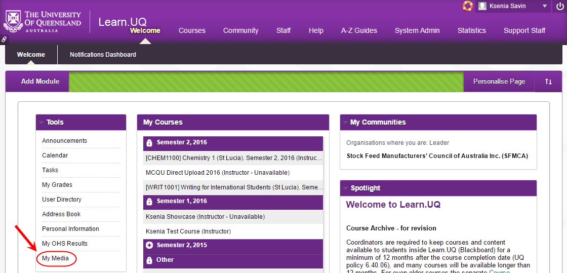 Learn.UQ welcome page with my media circled under tools