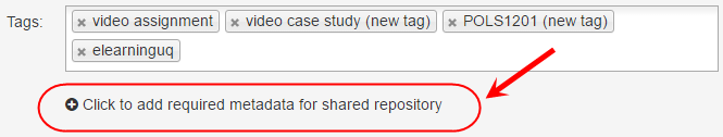 Tags screen with click to add required metadata for shared repository button circled