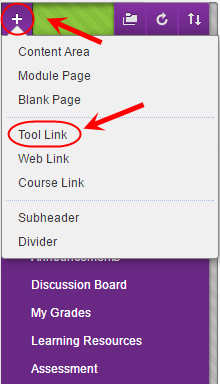Course menu with plus button circled and tool link circled from the drop down menu
