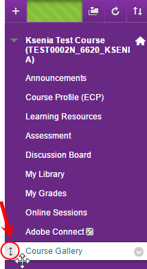 Course menu with new Course Gallery link and the double headed arrow circled next to the link