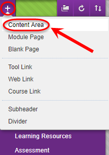 Drop down menu with create content area