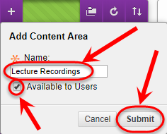 Add a content area setup box