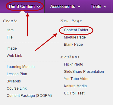 Build content menu with content folder circled