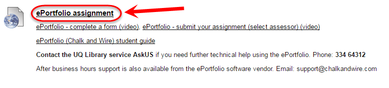 ePortfolio assignment link