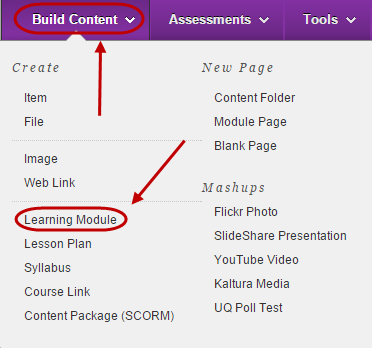Build content menu with learning module circled