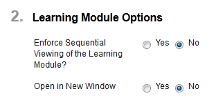Learning module options
