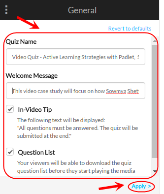 Video quiz general screen with quiz name, welcome message, in-video tip and question list circled as well as the apply button.