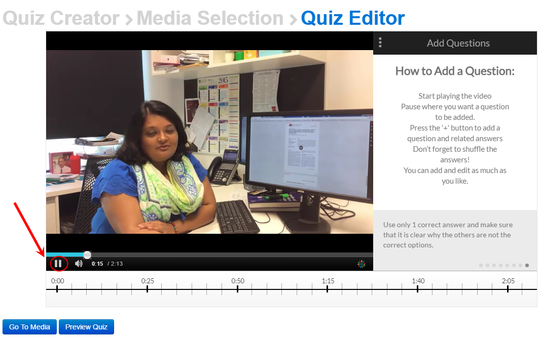 Quiz editor screen with the pause button circled