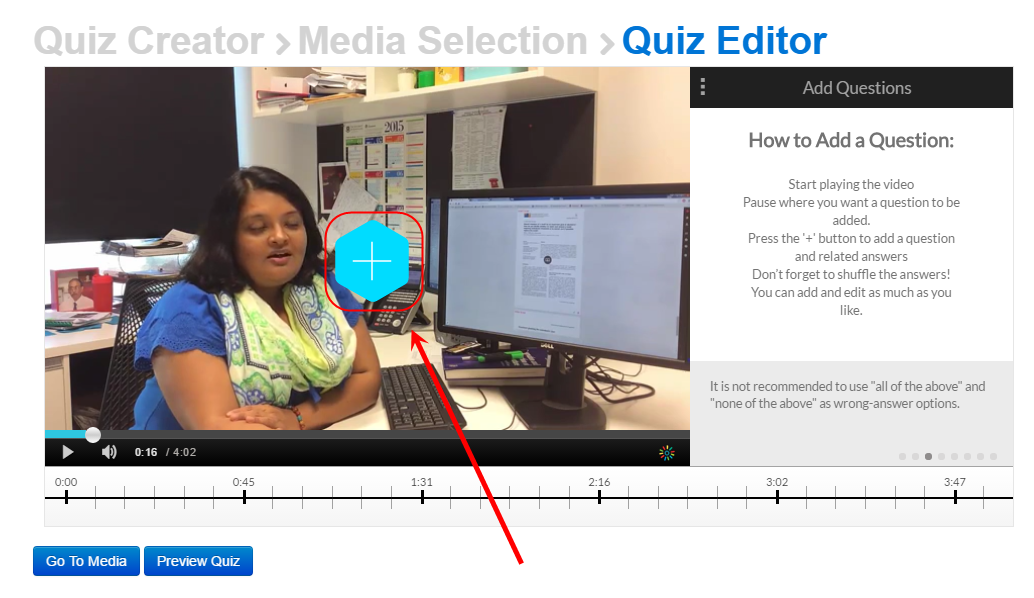 Quiz editor screen with the add quiz question button (blue diamond with a plus sign) circled in middle of screen