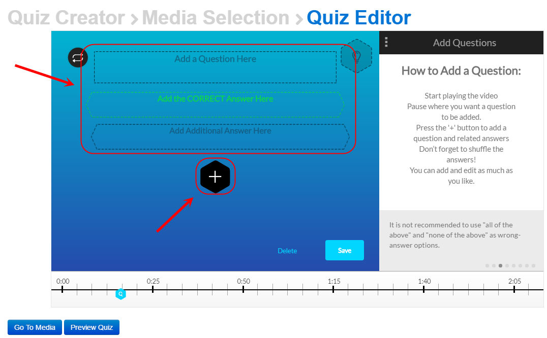 Quiz editor add questions screen with the Add question and answer text boxes circled as well as the add answer button (Black diamond with a plus sign)