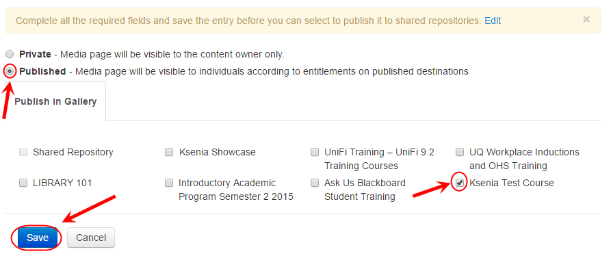 Publish screen with the Published radio button selected and the required checkbox circled and ticked next to desired course