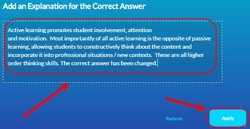 Correct answer explanation screen with the text box circled and the apply button circled