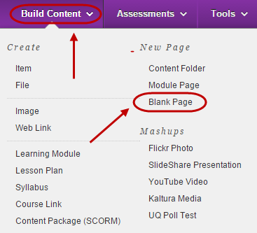 Build content menu with blank page circled