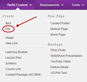 Build content menu with file circled