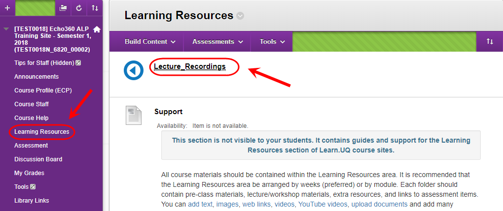 click on lecture recordings
