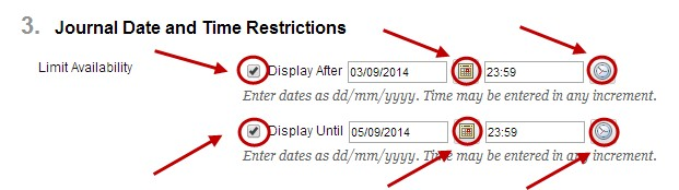 enter journal and time restrictions