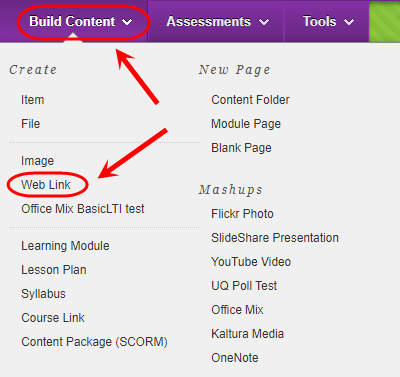 Build content menu with Web Link circled