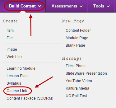 Build content menu with course link circled