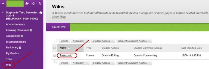 Create a Wiki Page - eLearning - University of Queensland