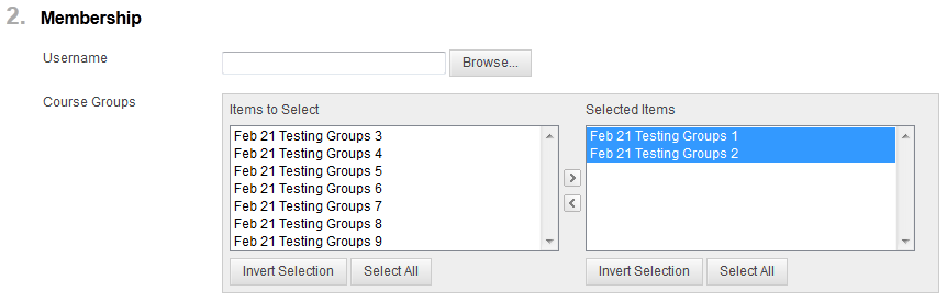click on arrow to select group