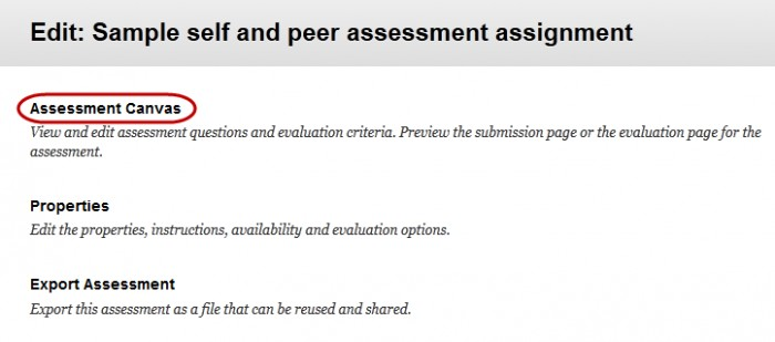 click on the assessment canvas