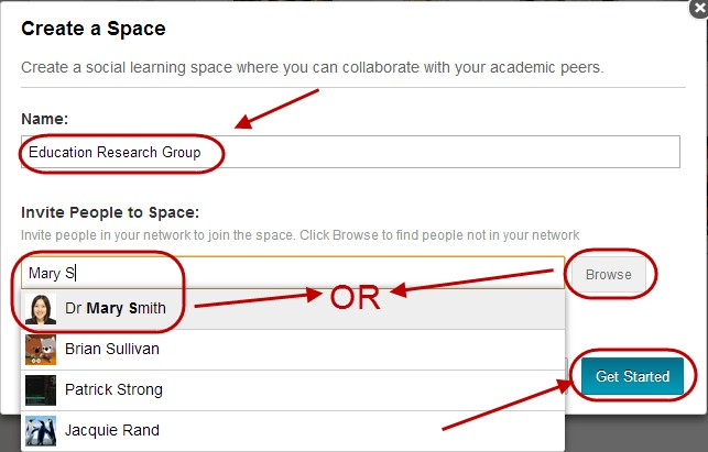 Give space a name, invite people and click Get started