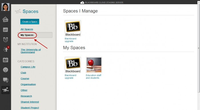 Click My Spaces to view Spaces you manage/ belong to.