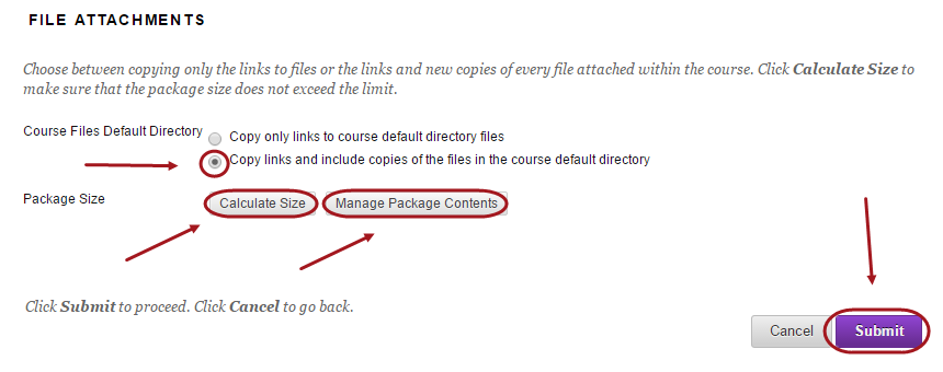 Select Course Files Default Directory and Package Size options