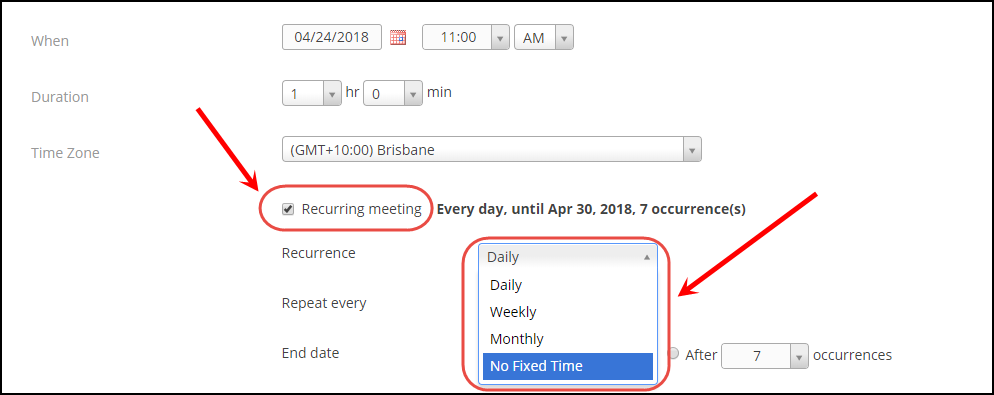 Set Recurring meeting option to No Fixed Time