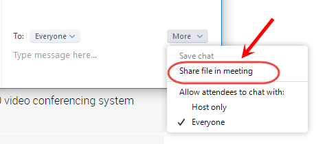 Click on share file in Meeting