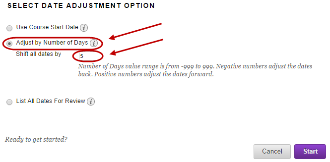 Adjsut number of days option