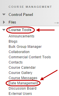 Click on the Date Management link in the Course menu.