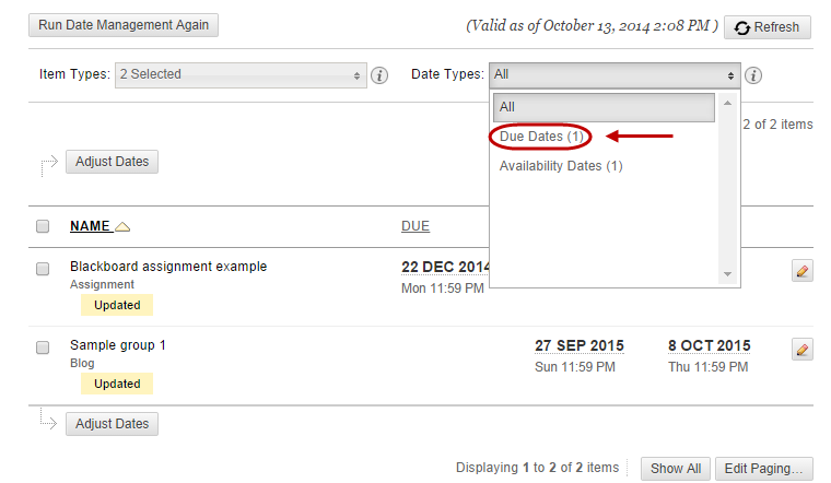 Select the Date Types drop down to select the appropriate content items and tools required.